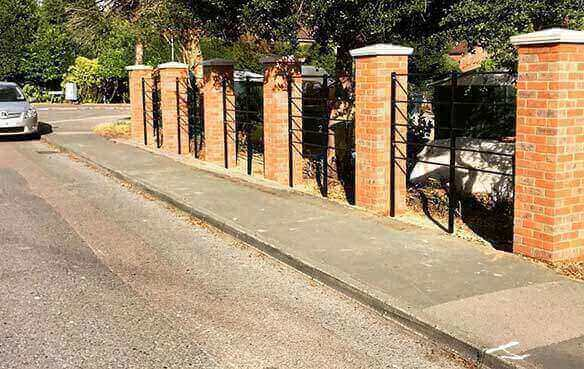 brick laying piers and railings