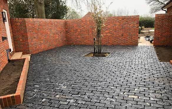 herringbone brick wall