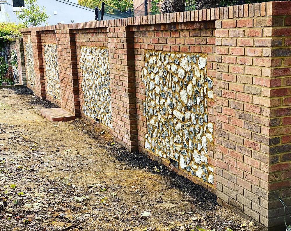 Brick and flint garden wall Marlow